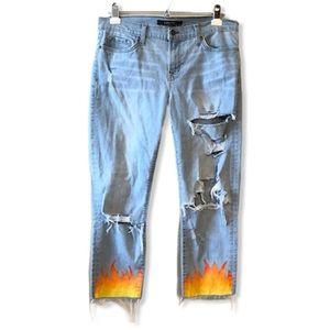 J Brand Aoki Custom Flame Painted Crop Jeans—29